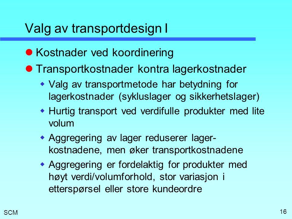 SCM 16 Valg av transportdesign I  Kostnader ved koordinering  Transportkostnader kontra lagerkostnader  Valg av transportmetode har betydning for l