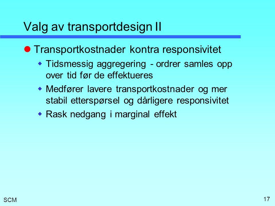 SCM 17 Valg av transportdesign II  Transportkostnader kontra responsivitet  Tidsmessig aggregering - ordrer samles opp over tid før de effektueres 