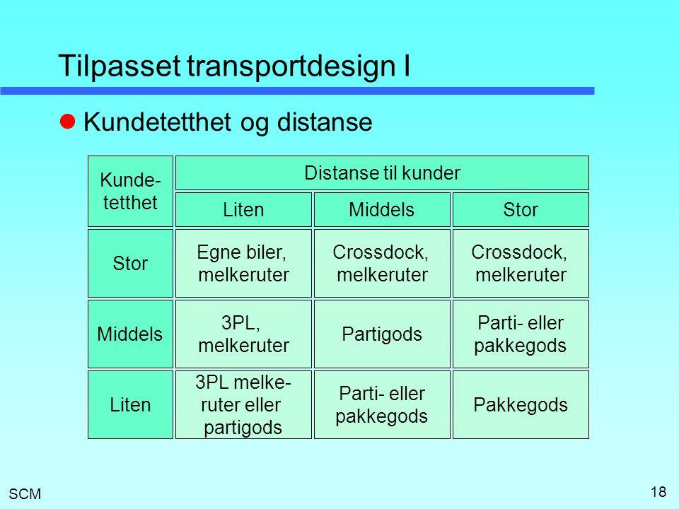 SCM 18 Tilpasset transportdesign I Egne biler, melkeruter Crossdock, melkeruter Crossdock, melkeruter 3PL, melkeruter Partigods Parti- eller pakkegods