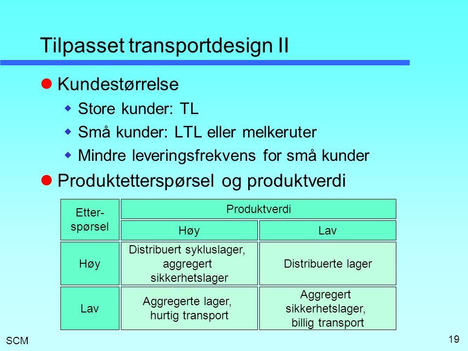 SCM 19 Tilpasset transportdesign II  Kundestørrelse  Store kunder: TL  Små kunder: LTL eller melkeruter  Mindre leveringsfrekvens for små kunder 