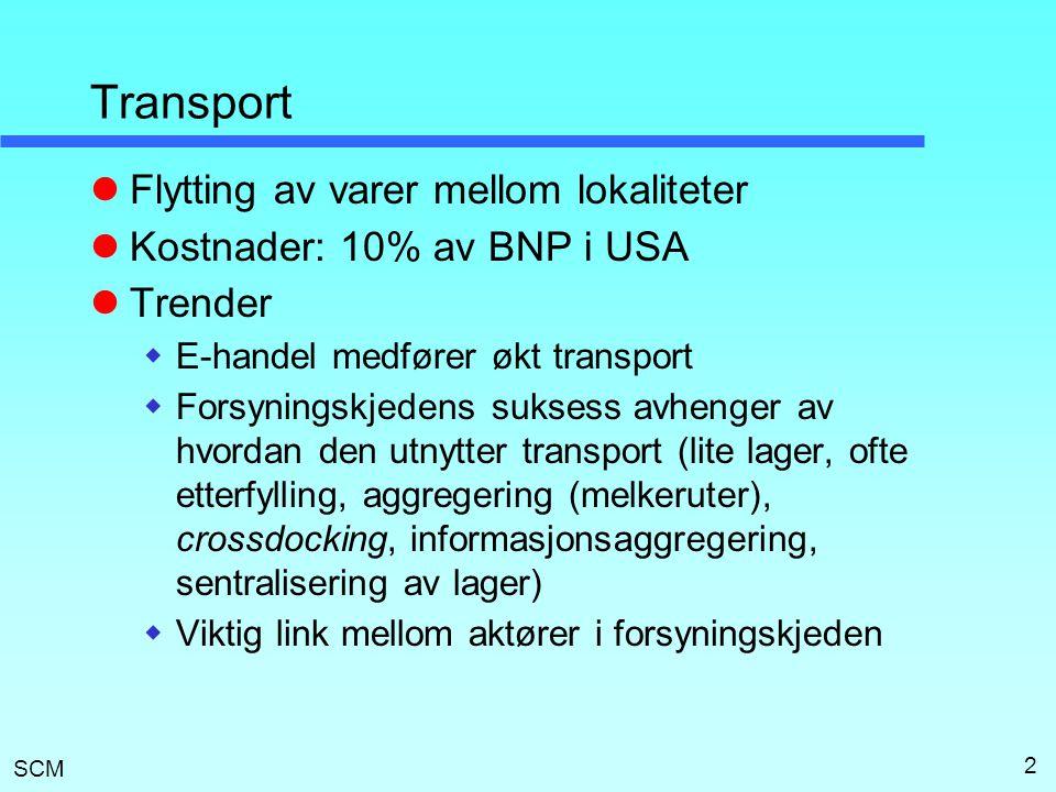 SCM 3 Transportør (carrier)  Organisasjonen som utfører transporten  Mål: Investere og drifte slik at overskuddet maksimeres  Kostnader  Kjøretøysrelaterte (investering eller leasing)  Faste driftskostnader (terminaler, fast arbeid)  Tur-relaterte (drivstoff, arbeid)  Volum-relaterte (lasting/lossing, andel av drivstoff)  Overhead (planlegging, styring, IKT)  Viktige faktorer: Utnyttingsgrad, responsivitet, pris