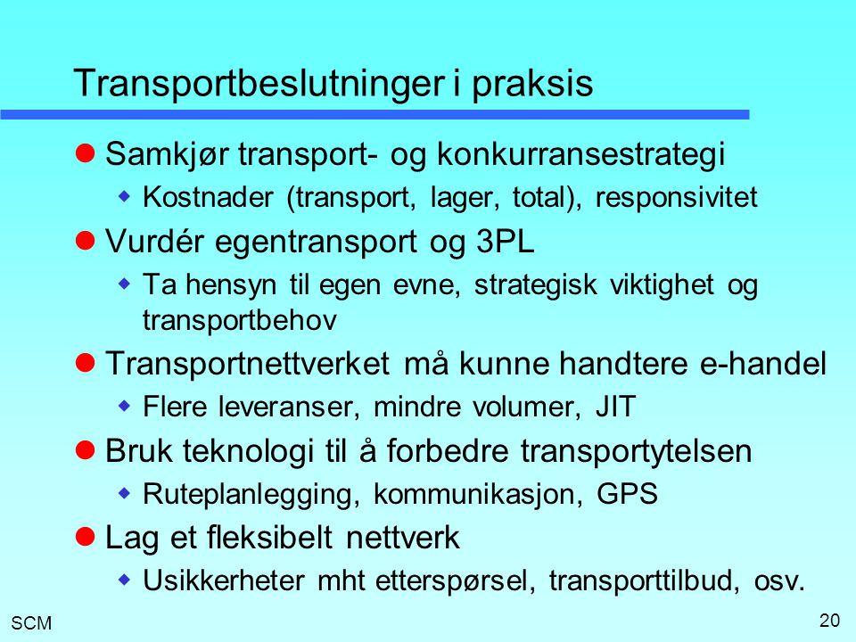 SCM 20 Transportbeslutninger i praksis  Samkjør transport- og konkurransestrategi  Kostnader (transport, lager, total), responsivitet  Vurdér egent