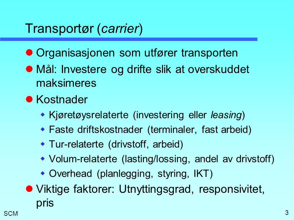 SCM 3 Transportør (carrier)  Organisasjonen som utfører transporten  Mål: Investere og drifte slik at overskuddet maksimeres  Kostnader  Kjøretøys