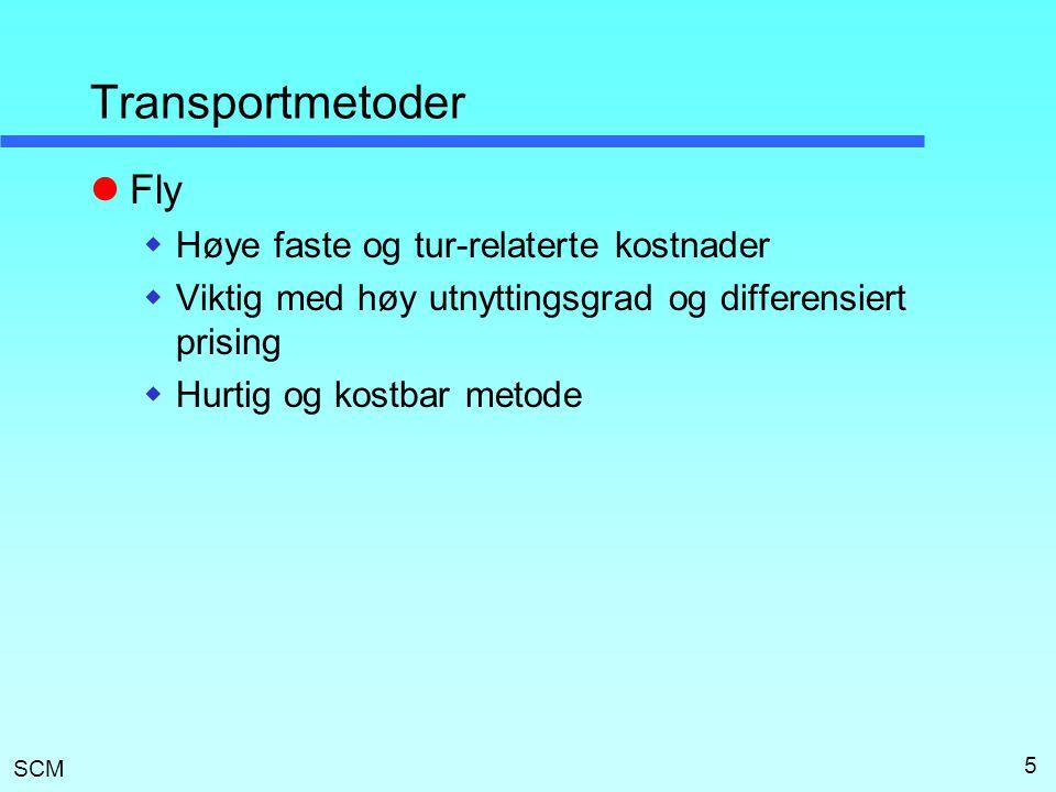 SCM 5 Transportmetoder  Fly  Høye faste og tur-relaterte kostnader  Viktig med høy utnyttingsgrad og differensiert prising  Hurtig og kostbar meto