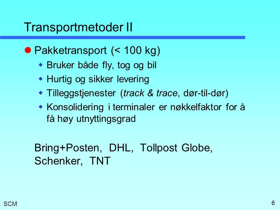 SCM 6 Transportmetoder II  Pakketransport (< 100 kg)  Bruker både fly, tog og bil  Hurtig og sikker levering  Tilleggstjenester (track & trace, dø