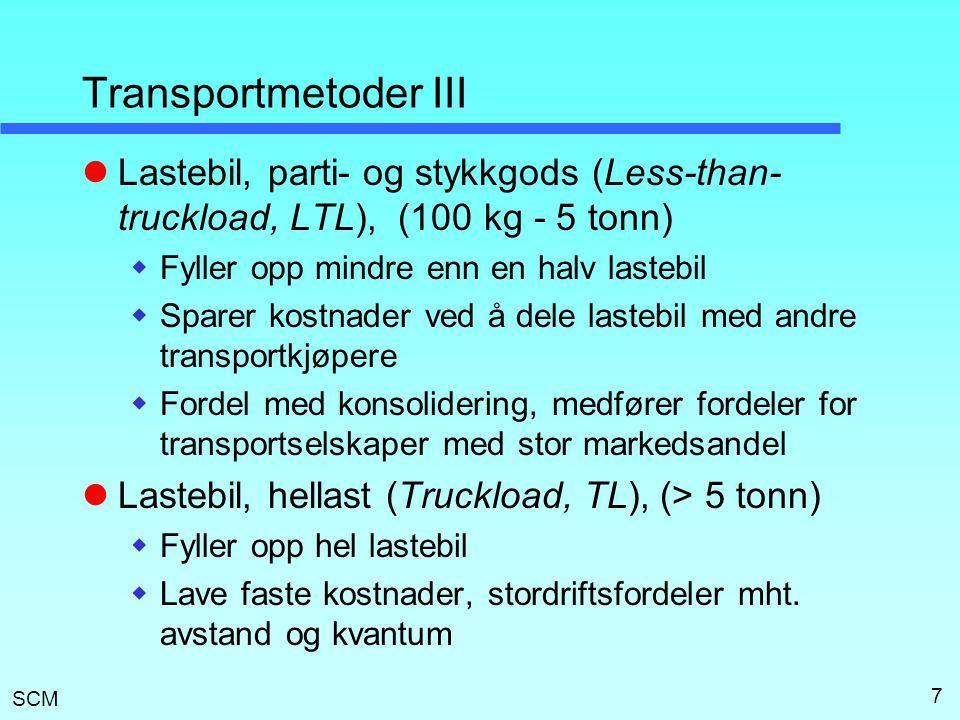 SCM 7 Transportmetoder III  Lastebil, parti- og stykkgods (Less-than- truckload, LTL), (100 kg - 5 tonn)  Fyller opp mindre enn en halv lastebil  S