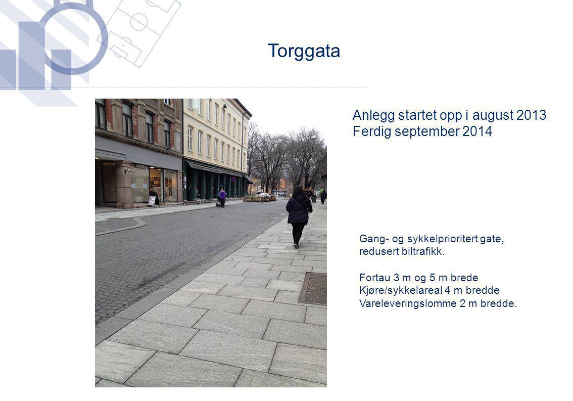Anlegg startet opp i august 2013 Ferdig september 2014 Torggata Gang- og sykkelprioritert gate, redusert biltrafikk. Fortau 3 m og 5 m brede Kjøre/syk