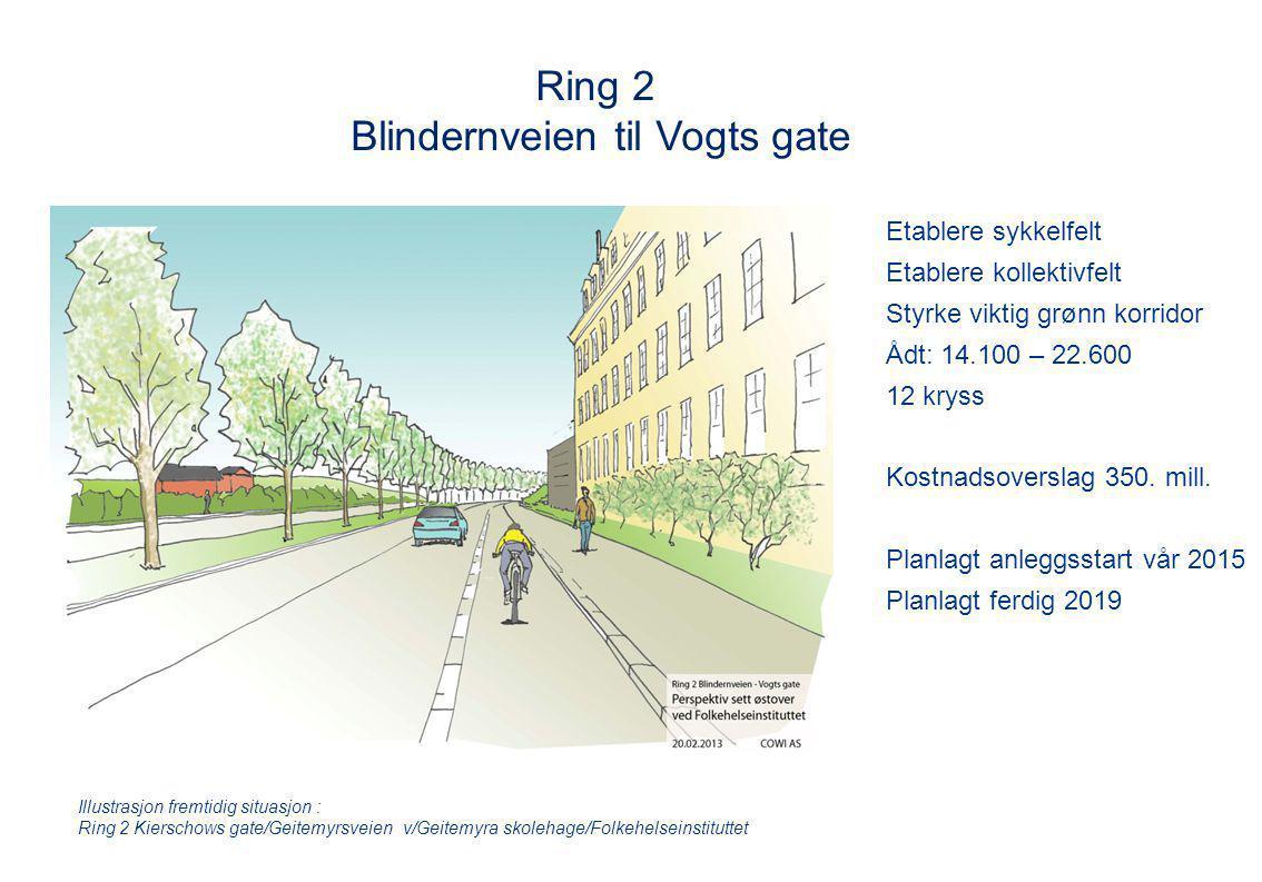 Ring 2 Blindernveien til Vogts gate Etablere sykkelfelt Etablere kollektivfelt Styrke viktig grønn korridor Ådt: 14.100 – 22.600 12 kryss Kostnadsover