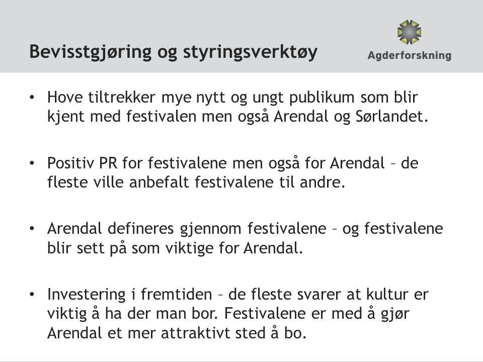 Bevisstgjøring og styringsverktøy • Hove tiltrekker mye nytt og ungt publikum som blir kjent med festivalen men også Arendal og Sørlandet.