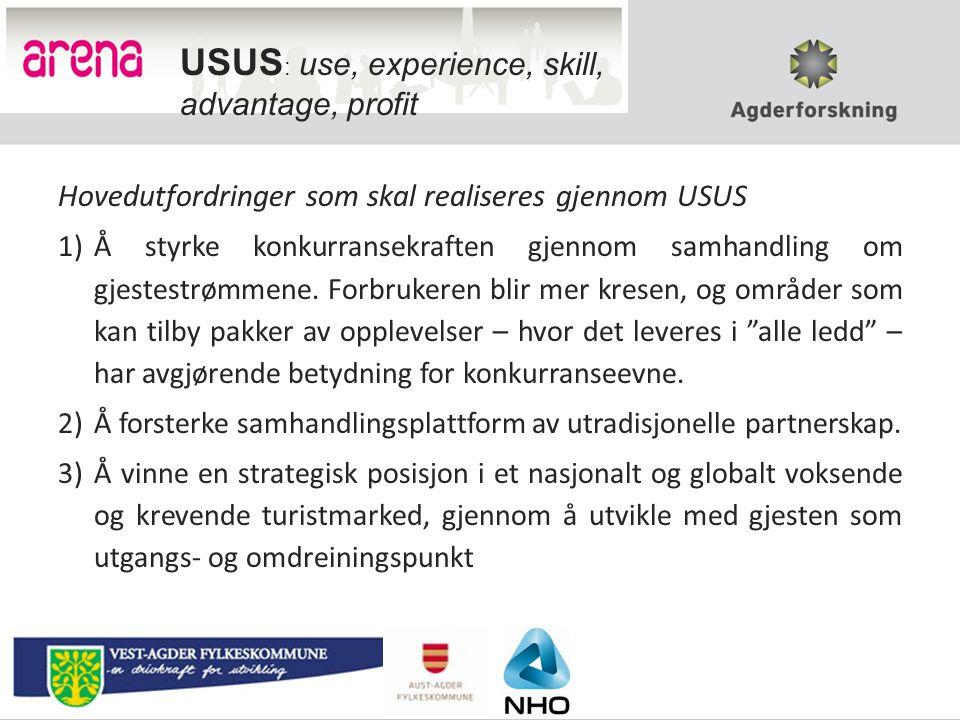 Hovedutfordringer som skal realiseres gjennom USUS 1)Å styrke konkurransekraften gjennom samhandling om gjestestrømmene.