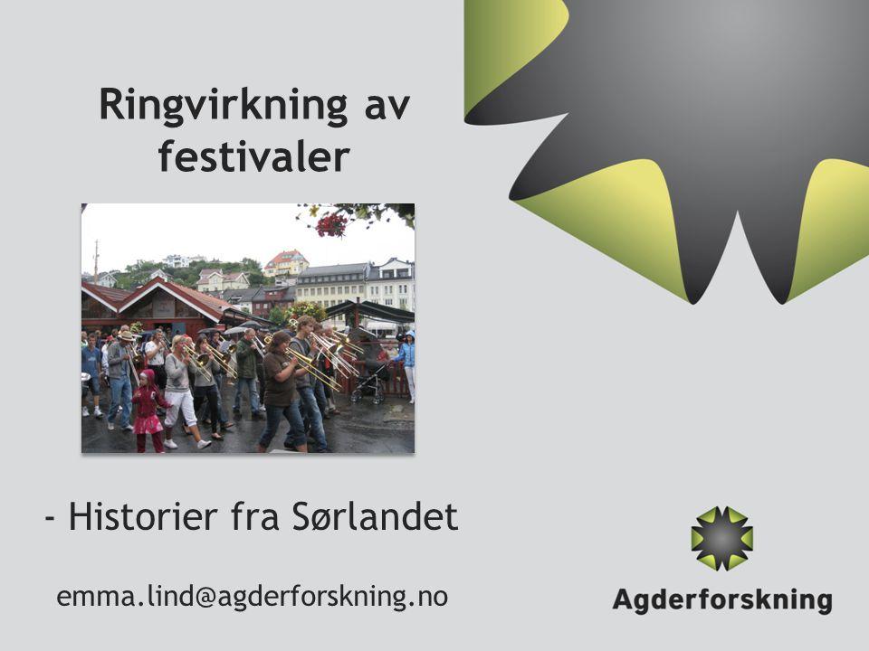 Ringvirkning av festivaler - Historier fra Sørlandet emma.lind@agderforskning.no