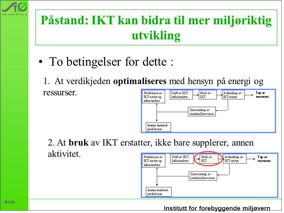 Institutt for forebyggende miljøvern  STØ 1. At verdikjeden optimaliseres med hensyn på energi og ressurser. Påstand: IKT kan bidra til mer miljørikt