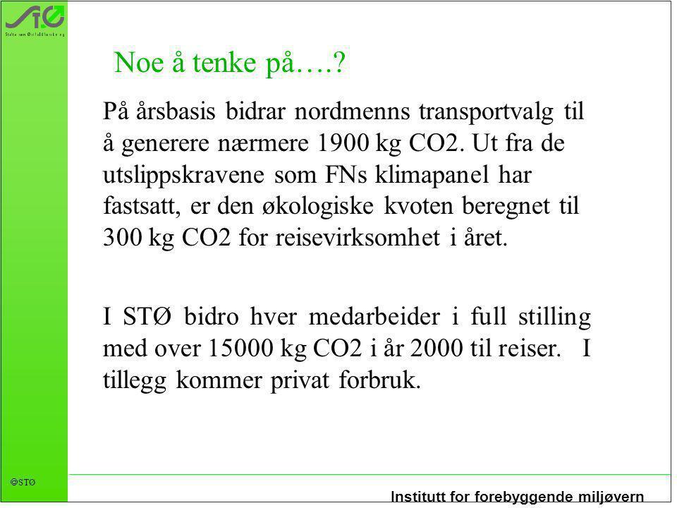 Institutt for forebyggende miljøvern  STØ På årsbasis bidrar nordmenns transportvalg til å generere nærmere 1900 kg CO2. Ut fra de utslippskravene so