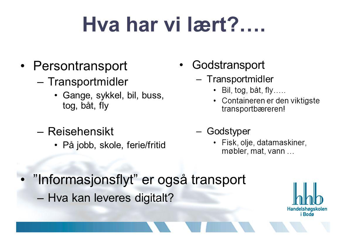 Hva har vi lært?…. •Persontransport –Transportmidler •Gange, sykkel, bil, buss, tog, båt, fly –Reisehensikt •På jobb, skole, ferie/fritid •Godstranspo