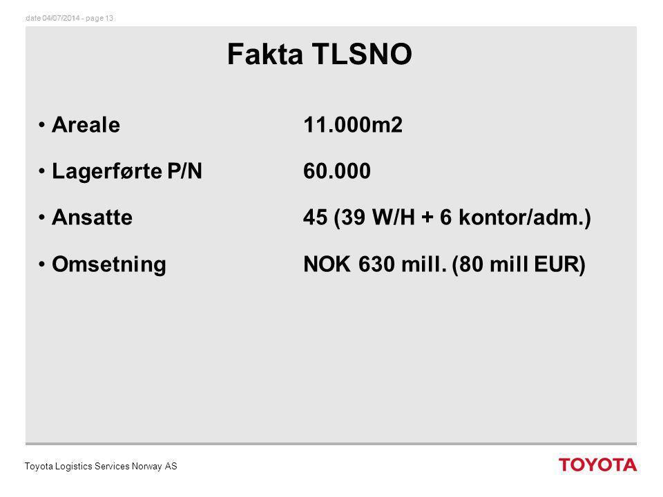 date 04/07/2014 - page 14dato 04/07/2014 - page 14 TOYOTA NORGE AS Volum TLSNO Varemottak : (daglig) 3 lastebiler fra TPCE 2500-3000 varelinjer 1 flyfrakt 250-300 varelinjer 3 TMC containere/uke 750 varelinjer Forsendelse : (daglig) Norge 12 shipments5.200 varelinjer Sverige 3 shipments1.800 varelinjer Totalt 15 shipments7.000 varelinjer Toyota Logistics Services Norway AS