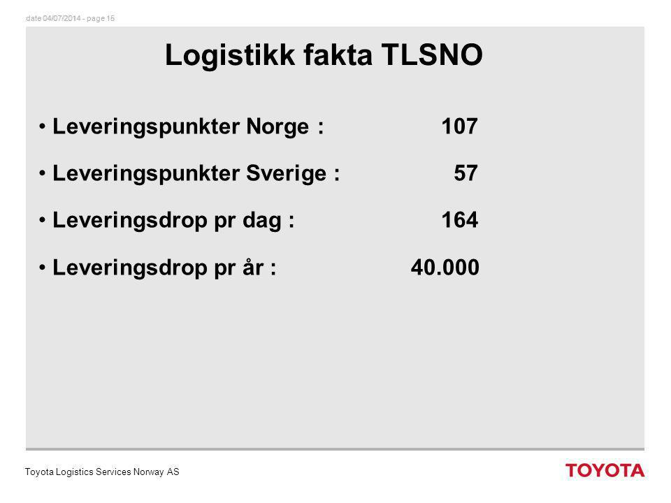date 04/07/2014 - page 16dato 04/07/2014 - page 16 TOYOTA NORGE AS Leveringsservice mot forhandler Toyota Logistics Services Norway AS