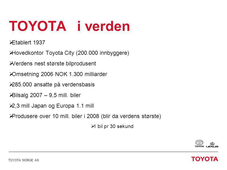TOYOTA NORGE AS TOYOTA i verden  12 fabrikker i Japan  10 store samarbeidspartnere  51 fabrikker i verden  Fabrikker i 26 land  Toyota er representert i 172 land
