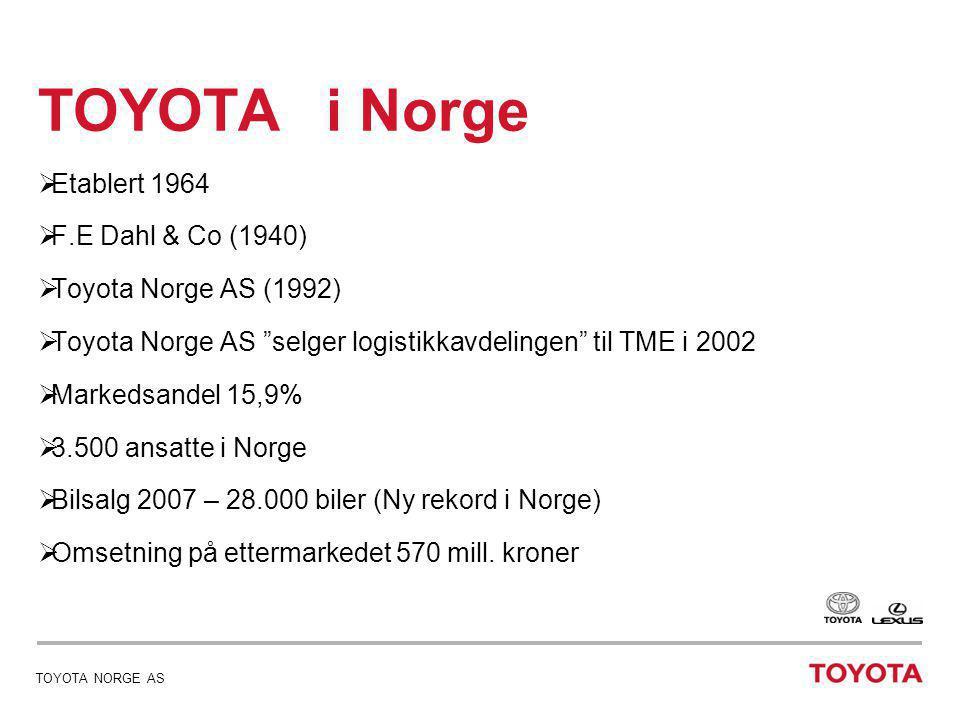 date 04/07/2014 - page 6dato 04/07/2014 - page 6 TOYOTA NORGE AS Toyota logistikk i Skandinavia •1999-2000 Toyota vurderer den Skandinaviske logistikken •Det er 3 lagre – Stockholm - Middelfart - Drammen •Det skal reduseres med 1 lager •2001 avgjøres det at lageret i Stockholm nedlegges fra 01.01.2003 og at Middelfart og Drammen skal betjene det svenske markedet.