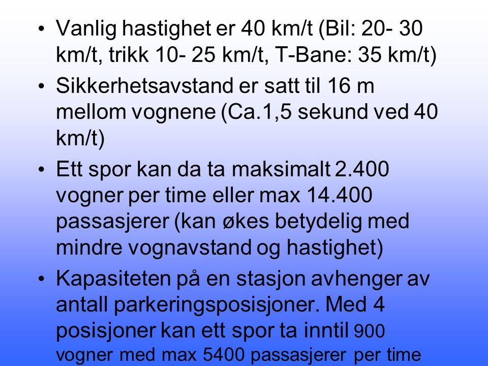 • Vanlig hastighet er 40 km/t (Bil: 20- 30 km/t, trikk 10- 25 km/t, T-Bane: 35 km/t) • Sikkerhetsavstand er satt til 16 m mellom vognene (Ca.1,5 sekund ved 40 km/t) • Ett spor kan da ta maksimalt 2.400 vogner per time eller max 14.400 passasjerer (kan økes betydelig med mindre vognavstand og hastighet) • Kapasiteten på en stasjon avhenger av antall parkeringsposisjoner.