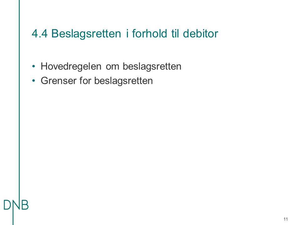 4.4 Beslagsretten i forhold til debitor •Hovedregelen om beslagsretten •Grenser for beslagsretten 11