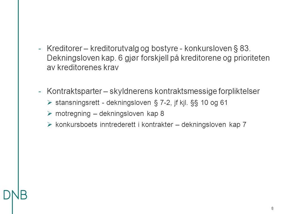 -Kreditorer – kreditorutvalg og bostyre - konkursloven § 83.