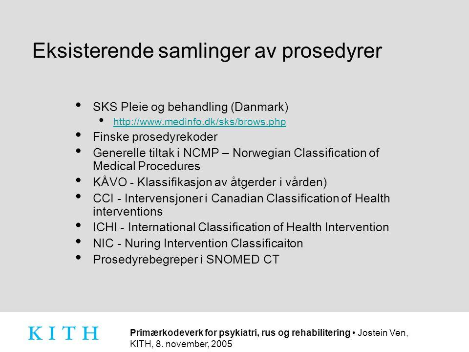 Primærkodeverk for psykiatri, rus og rehabilitering • Jostein Ven, KITH, 8. november, 2005 Eksisterende samlinger av prosedyrer • SKS Pleie og behandl