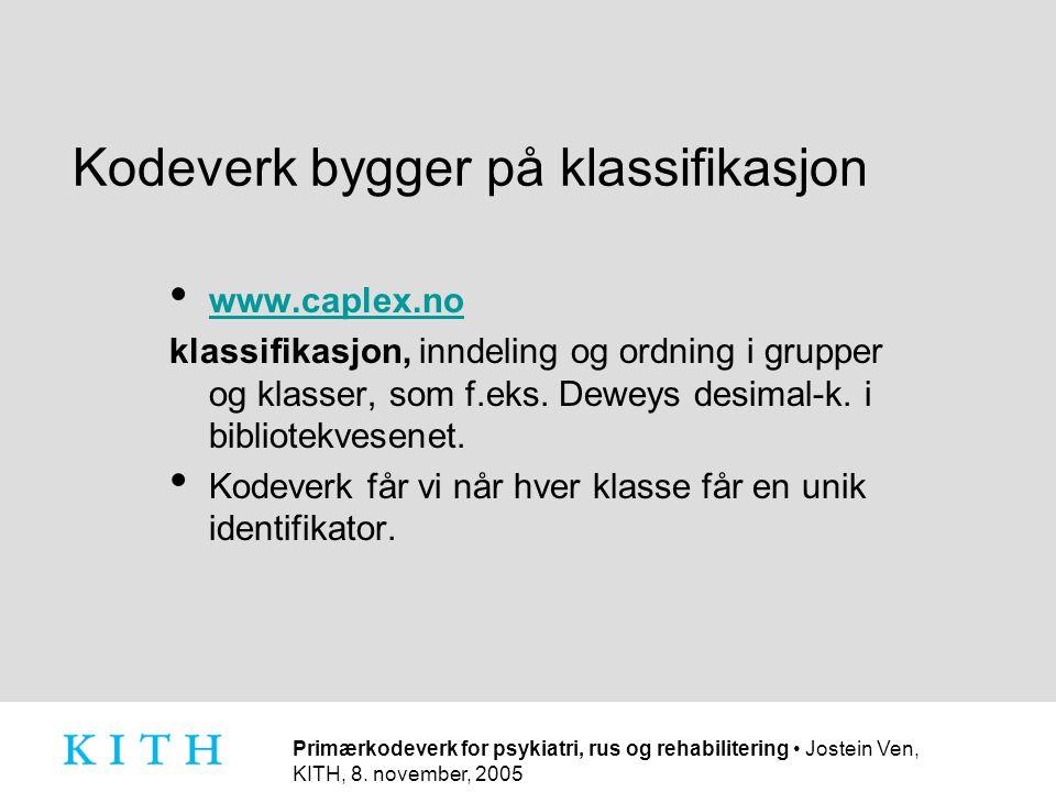 Primærkodeverk for psykiatri, rus og rehabilitering • Jostein Ven, KITH, 8. november, 2005 Kodeverk bygger på klassifikasjon • www.caplex.no www.caple