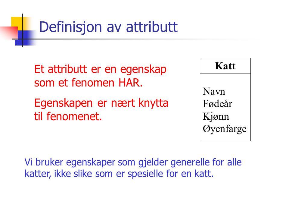 Definisjon av attributt Et attributt er en egenskap som et fenomen HAR. Egenskapen er nært knytta til fenomenet. Vi bruker egenskaper som gjelder gene