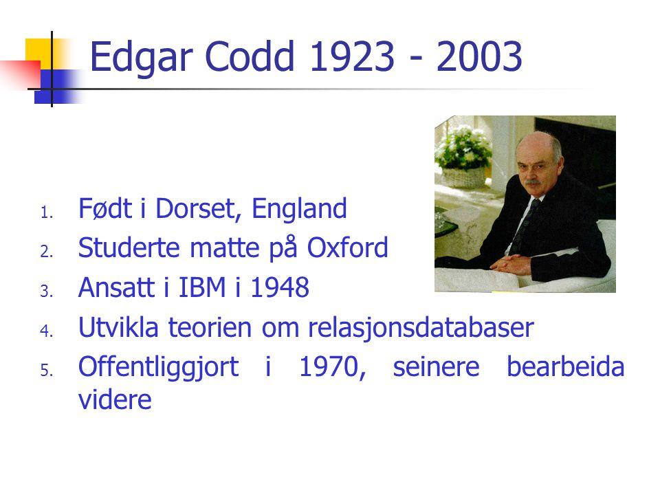 Edgar Codd 1923 - 2003 1. Født i Dorset, England 2. Studerte matte på Oxford 3. Ansatt i IBM i 1948 4. Utvikla teorien om relasjonsdatabaser 5. Offent
