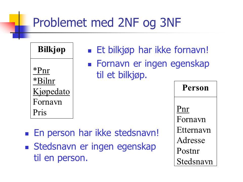 Problemet med 2NF og 3NF  Et bilkjøp har ikke fornavn!  Fornavn er ingen egenskap til et bilkjøp.  En person har ikke stedsnavn!  Stedsnavn er ing