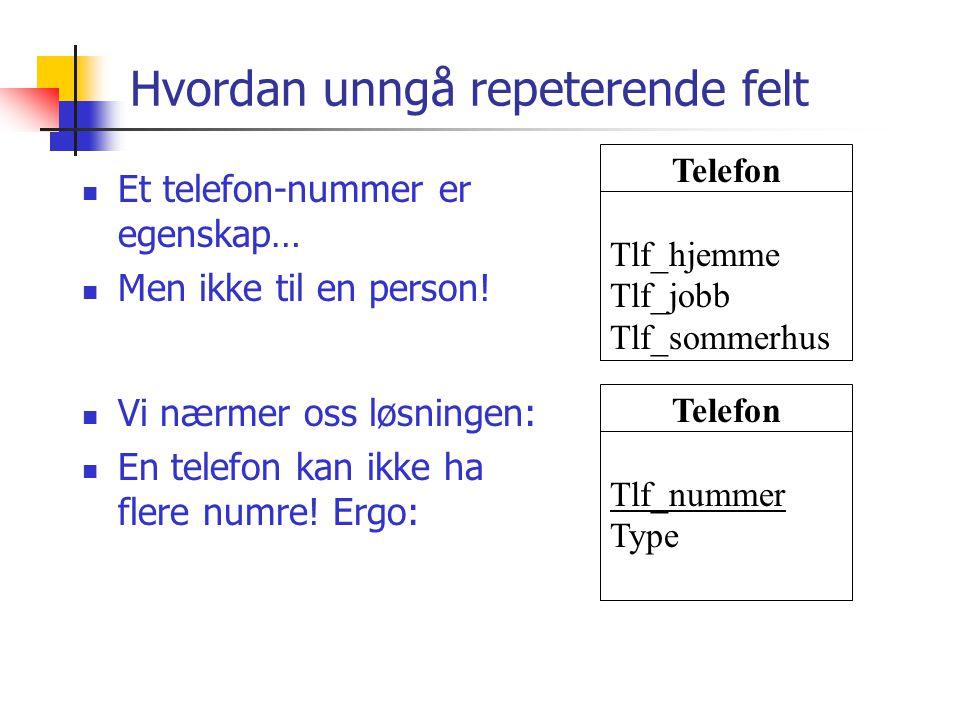 Hvordan unngå repeterende felt Telefon Tlf_hjemme Tlf_jobb Tlf_sommerhus  Et telefon-nummer er egenskap…  Men ikke til en person!  Vi nærmer oss lø