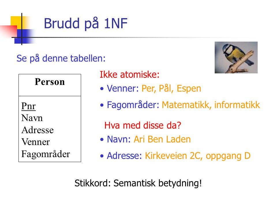 Normalformer For å forstå hva 2NF og 3NF er, må vi definere termen: Familiemedlem Fornavn Fødedato Kjønn Øyenfarge (Fornavn) -> (Fødedato, Kjønn, Øyenfarge) Gitt fornavnet.