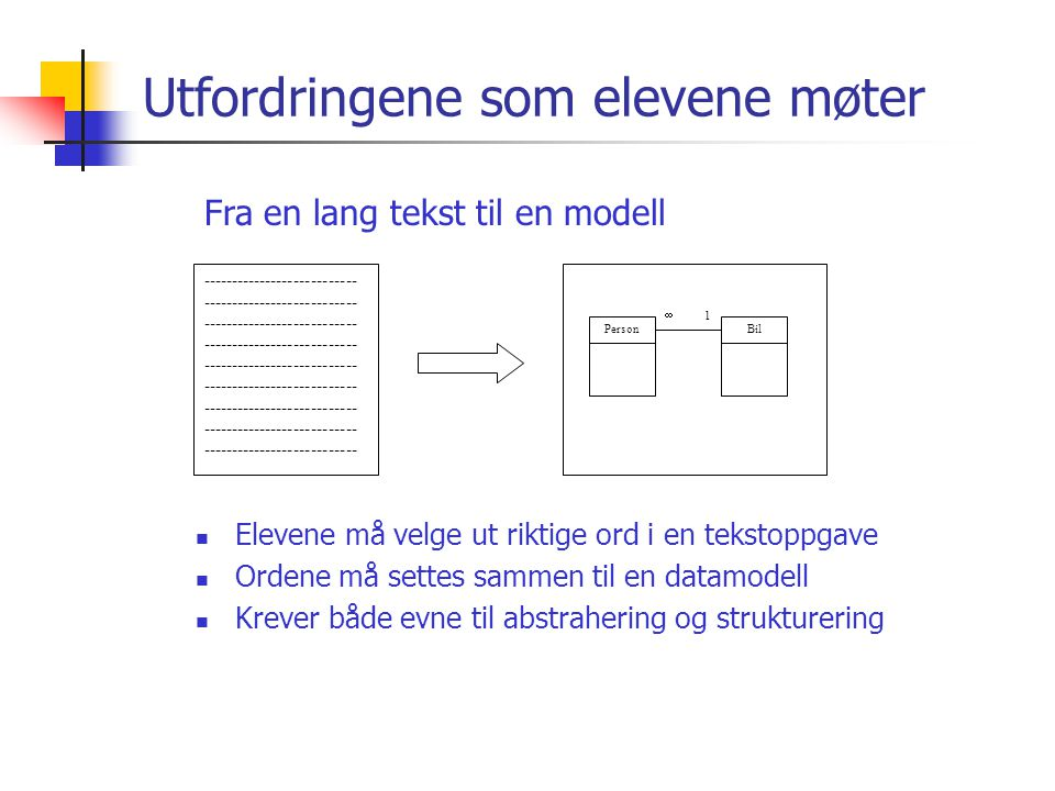 Utfordringene som elevene møter  Elevene må velge ut riktige ord i en tekstoppgave  Ordene må settes sammen til en datamodell  Krever både evne til