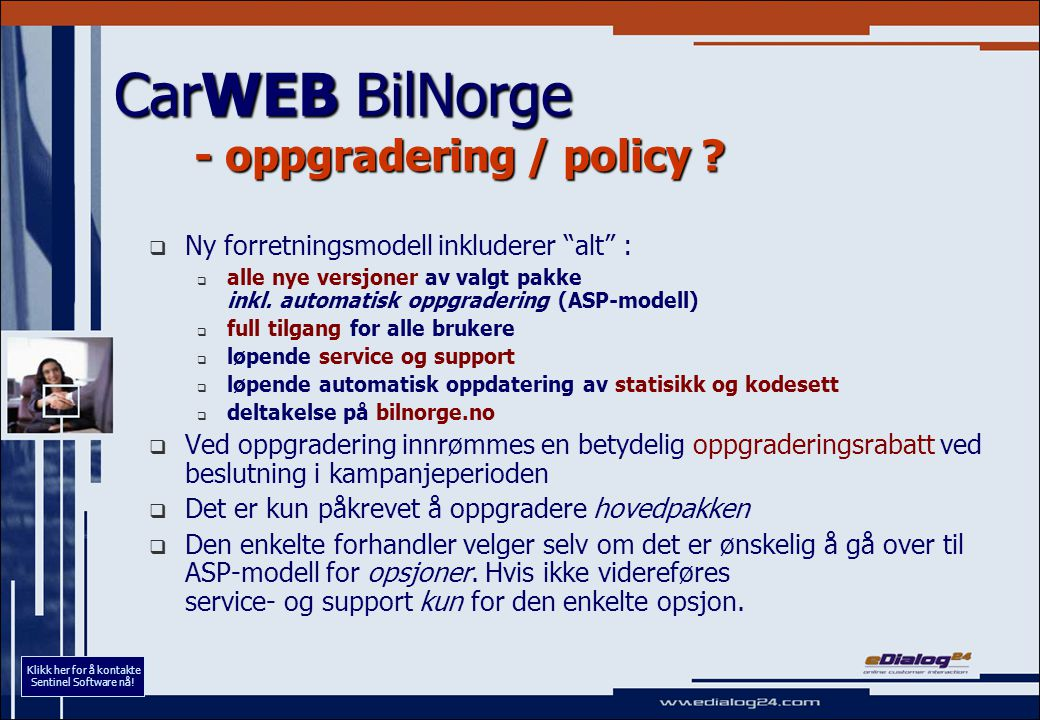 CarWEB BilNorge - oppgradering / policy .