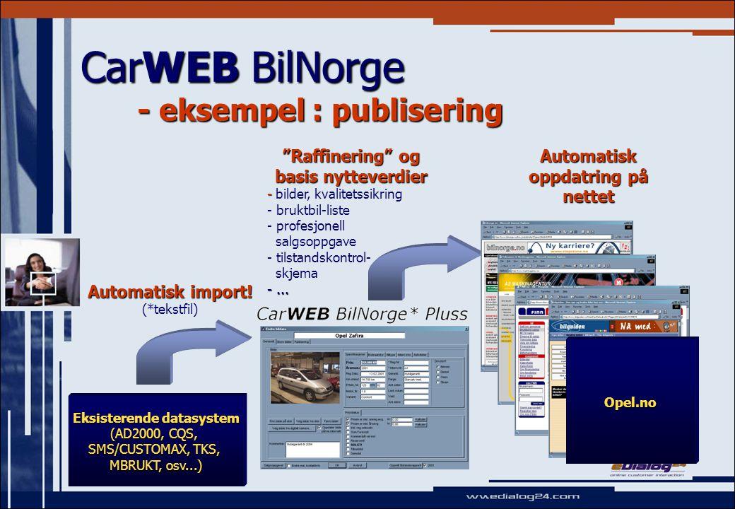 CarWEB BilNorge - detaljert oversikt over muligheter (2) Regionale aspekter   Generell publiseringsløsning mot alle aviser som kan motta e-post – NY.