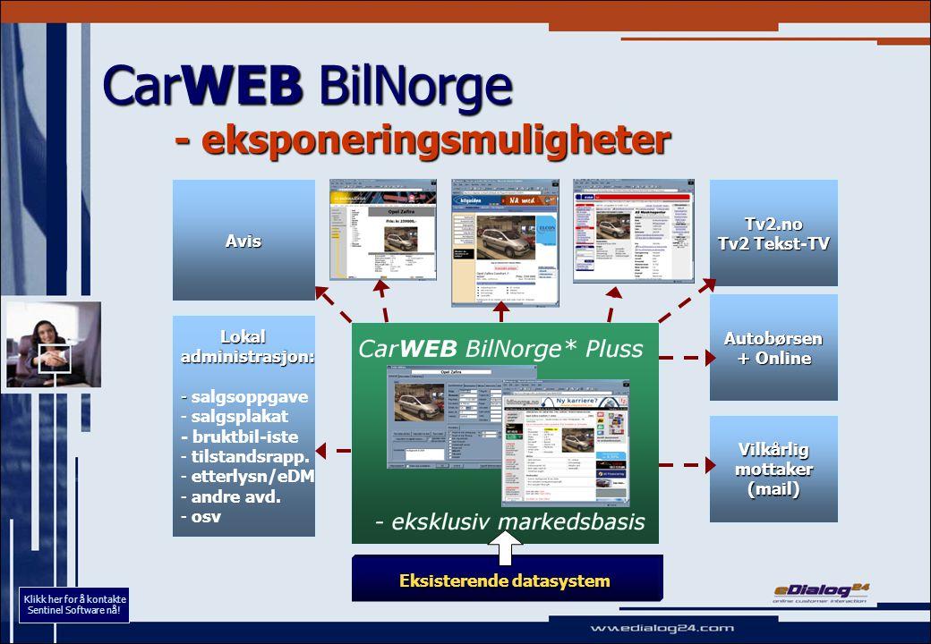 CarWEB BilNorge - eksponeringsmuligheter Eksisterende datasystem Lokal Lokaladministrasjon: - - salgsoppgave - - salgsplakat - bruktbil-iste - - tilstandsrapp.
