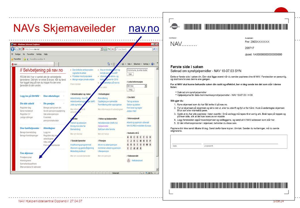 NAV Hjelpemiddelsentral Oppland // 27.04.07Side 24 NAVs Skjemaveileder nav.no NAV.........