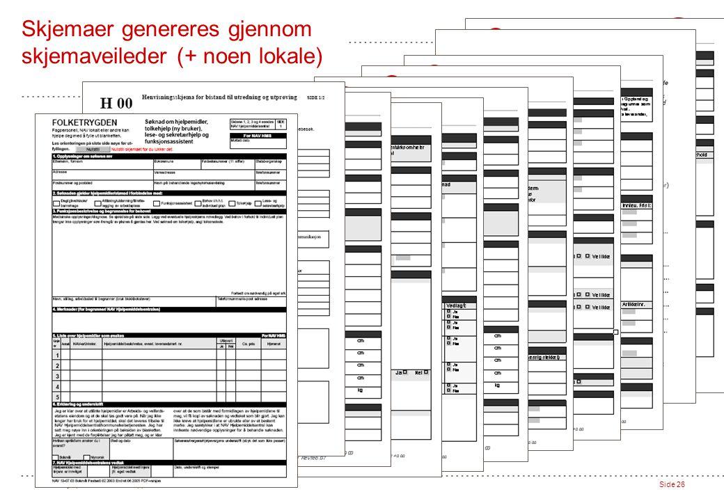 NAV Hjelpemiddelsentral Oppland // 27.04.07Side 26 Skjemaer genereres gjennom skjemaveileder (+ noen lokale)