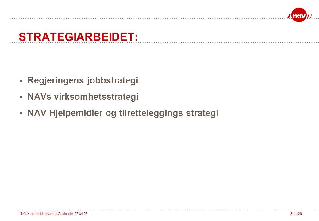NAV Hjelpemiddelsentral Oppland // 27.04.07Side 29 STRATEGIARBEIDET:  Regjeringens jobbstrategi  NAVs virksomhetsstrategi  NAV Hjelpemidler og tilretteleggings strategi