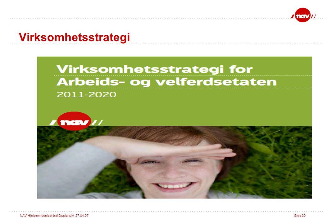 NAV Hjelpemiddelsentral Oppland // 27.04.07Side 30 Virksomhetsstrategi