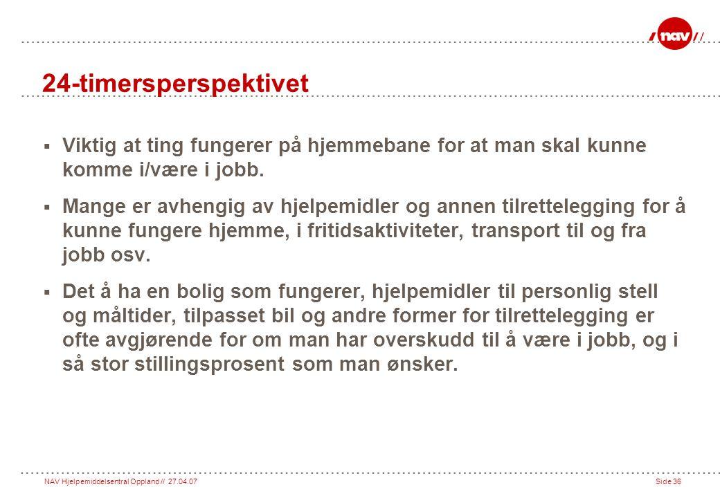 NAV Hjelpemiddelsentral Oppland // 27.04.07Side 36 24-timersperspektivet  Viktig at ting fungerer på hjemmebane for at man skal kunne komme i/være i jobb.
