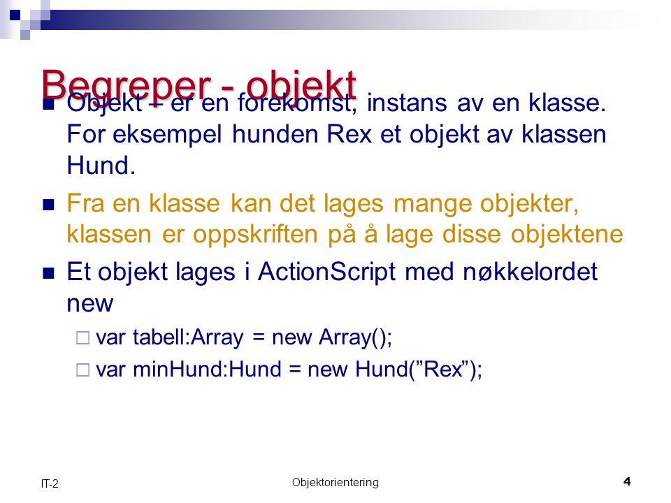 Objektorientering4 IT-2 Begreper - objekt  Objekt – er en forekomst, instans av en klasse.