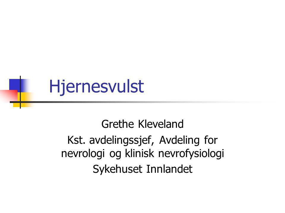 Hjernesvulst Grethe Kleveland Kst. avdelingssjef, Avdeling for nevrologi og klinisk nevrofysiologi Sykehuset Innlandet