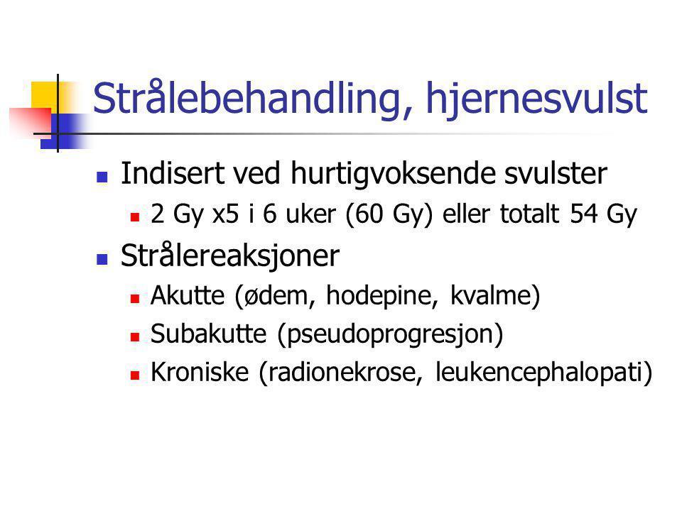Strålebehandling, hjernesvulst  Indisert ved hurtigvoksende svulster  2 Gy x5 i 6 uker (60 Gy) eller totalt 54 Gy  Strålereaksjoner  Akutte (ødem,