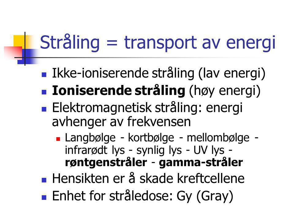 Stråling = transport av energi  Ikke-ioniserende stråling (lav energi)  Ioniserende stråling (høy energi)  Elektromagnetisk stråling: energi avheng