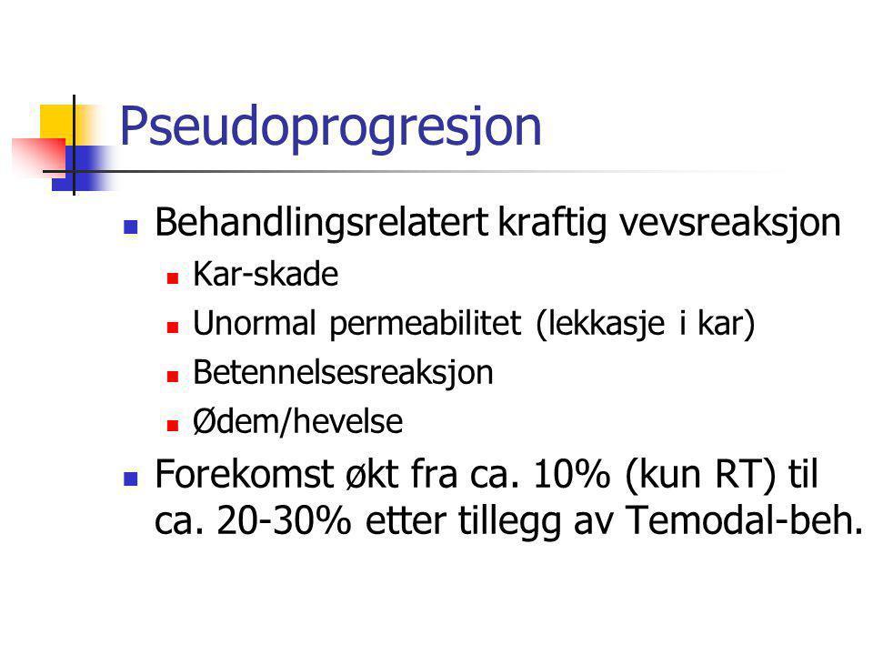 Pseudoprogresjon  Behandlingsrelatert kraftig vevsreaksjon  Kar-skade  Unormal permeabilitet (lekkasje i kar)  Betennelsesreaksjon  Ødem/hevelse