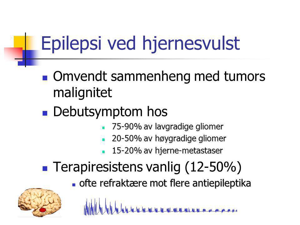 Epilepsi ved hjernesvulst  Omvendt sammenheng med tumors malignitet  Debutsymptom hos 75-90% av lavgradige gliomer  75-90% av lavgradige gliomer 