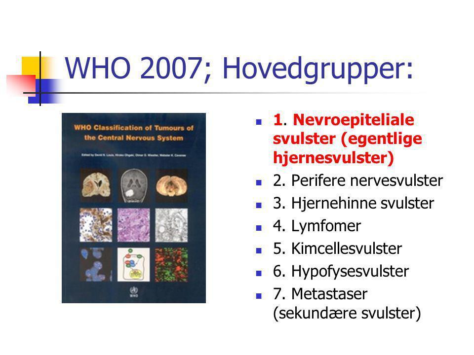 WHO 2007; Hovedgrupper:  1. Nevroepiteliale svulster (egentlige hjernesvulster)  2. Perifere nervesvulster  3. Hjernehinne svulster  4. Lymfomer 