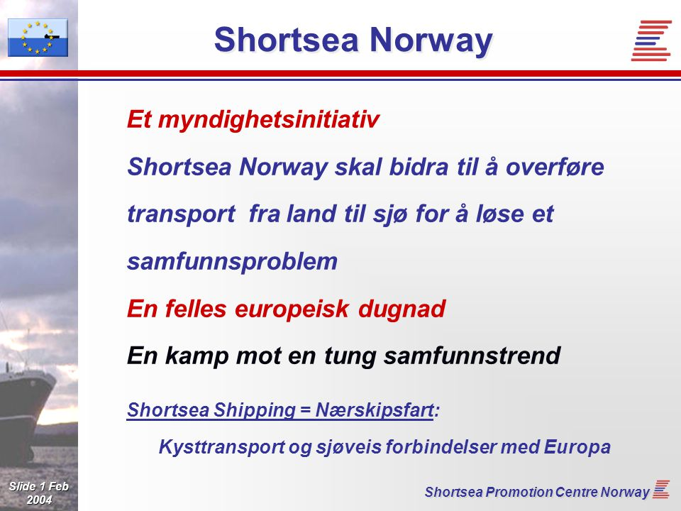 Slide 22 Feb 2004 Shortsea Promotion Centre Norway Short Sea XML Summary Schedules Positions Requests Quotes Contracts Booking Instructions Advice Notices Manifest Transport Details Status Invoicing Payments