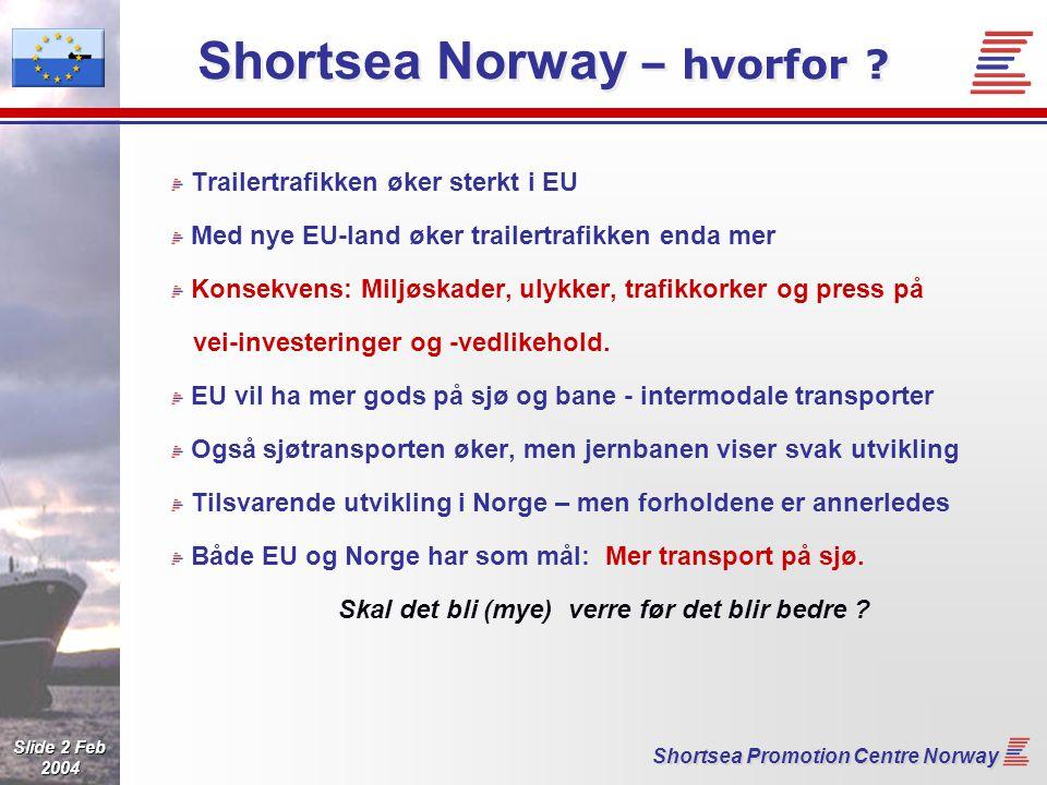 Slide 13 Feb 2004 Shortsea Promotion Centre Norway Nye informasjonstjenester 45 000 oppslag i 2004 !!.